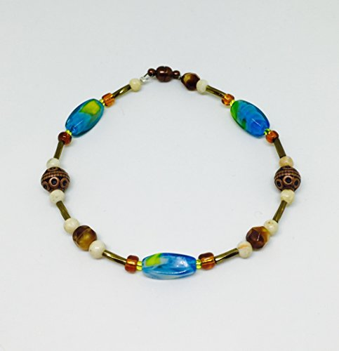 Aqua, Teal, Beige, Brown Glass Bead Bracelet with Magnetic Clasp//Beaded (Bead Magnetic Clasp Cable)