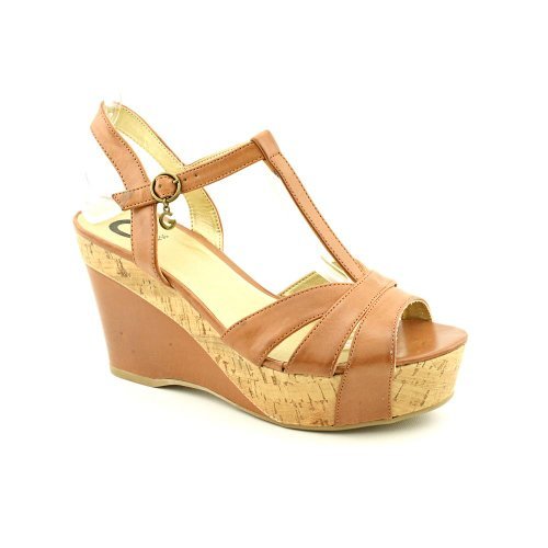 G By Guess Gale Womens Size 9.5 Tan Peep Toe Wedge Sandals Shoes
