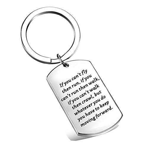 LQRI If You Can't Fly Then Run Keep Moving Forward Keychain Inspirational Daily Reminder Jewelry Gift for Friends Family Member (Silver)