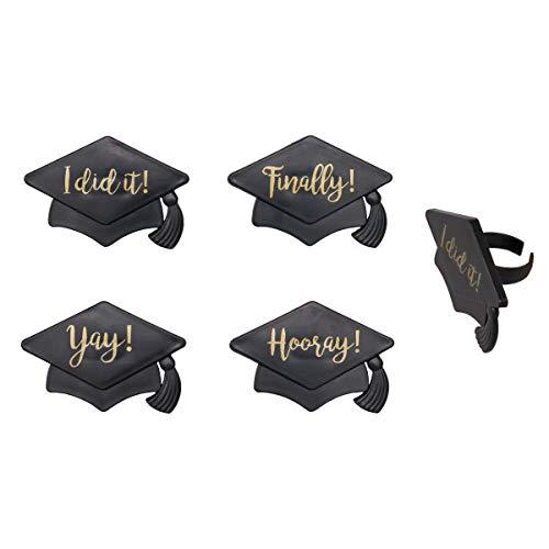 Graduation Hat Sayings Cupcake Rings - 24 pc