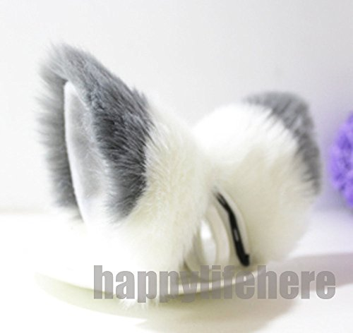 Cat Fox Ears Kitty Costume Halloween Cosplay Fancy Dress gray with white -