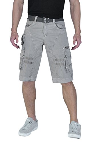 Cargo Classic Shorts - TWO BLOCKS OFF Shorts Casual Pants for Men Multi&Large Pockets with Waist Belt/Stainless Steel Button& Snap Uniforms for Working Ash Size 36