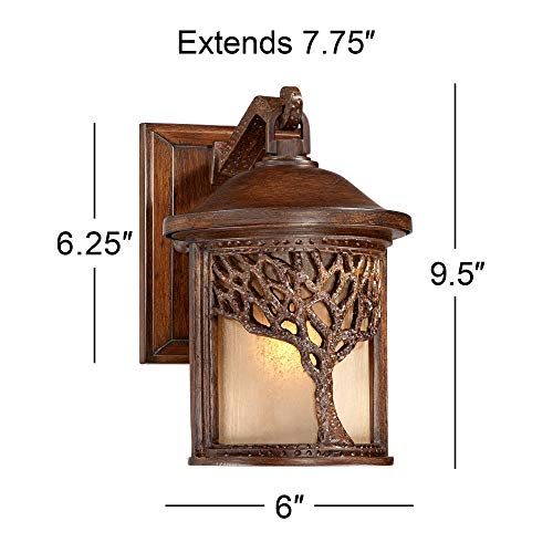 Rustic Outdoor Wall Light Fixture Bronze 9 1/2'' Tree Etched Glass Sconce for Exterior House Deck Patio Porch Lighting - John Timberland by John Timberland (Image #8)