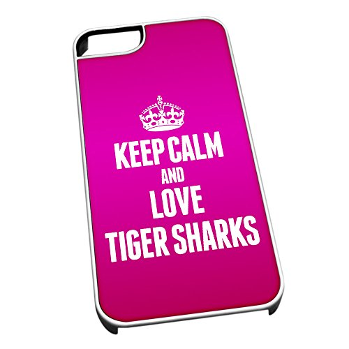 Bianco cover per iPhone 5/5S 2493Pink Keep Calm and Love Tiger Sharks