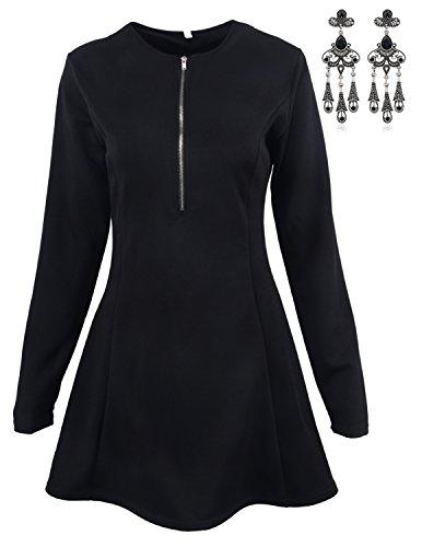 MODETREND Mujer Elegante Vestidos Manga 3/4 con Cremallera Deep V-Neck Vestidos A-Line de Coctel Fiesta Mini Dress Negro