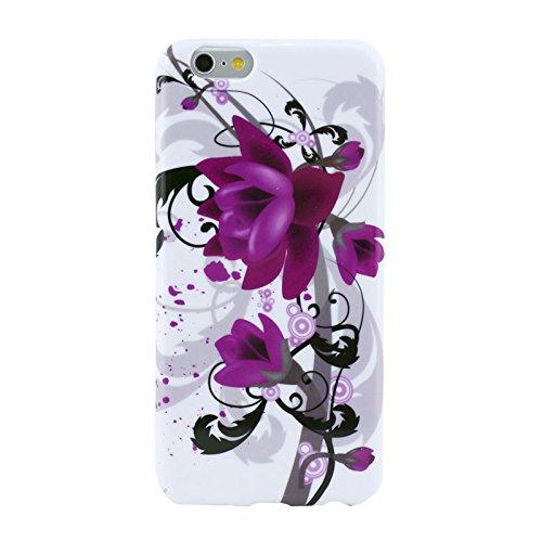 Smart Protectors. Étui TPU Case Cover Coque pour iPhone 6& 6S/Flowers/Fleurs/Violet