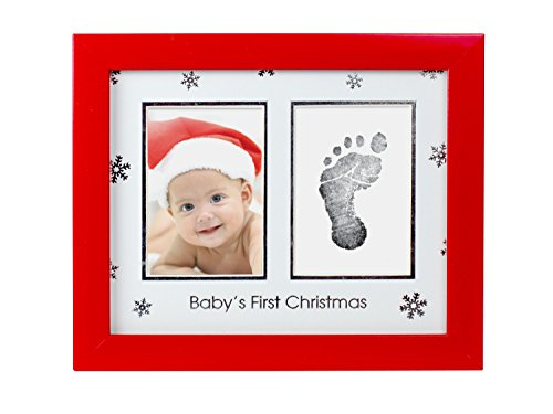 Tiny Ideas Baby's First Christmas Holiday Keepsake Photo Frame with Ink Pad for Handprint or Footprint, Red ()