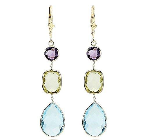 14K Yellow Gold Gemstone Earrings With Amethyst, Lemon Quartz and Blue Topaz - Drop Quartz Lemon