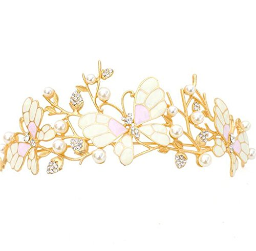 "Price comparison product image Wiipu Wedding Butterfly Rhinestone Crystal Pearl Gold Tiara Hair Crown,5.9"" Diameter(A1359) (gold)"