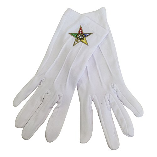F1060 Order of Eastern Star OES White Gloves with OES Emblem