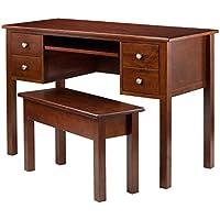 Winsome 3-Piece Emmett Writing Desk with Storage Bench Set, Brown