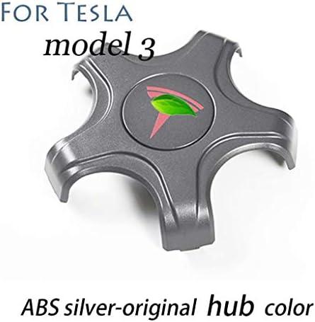 Tesla model3用の修正された装飾アクセサリーハブセンタージョーカバー、ABSシルバーオリジナルホイールハブカラー