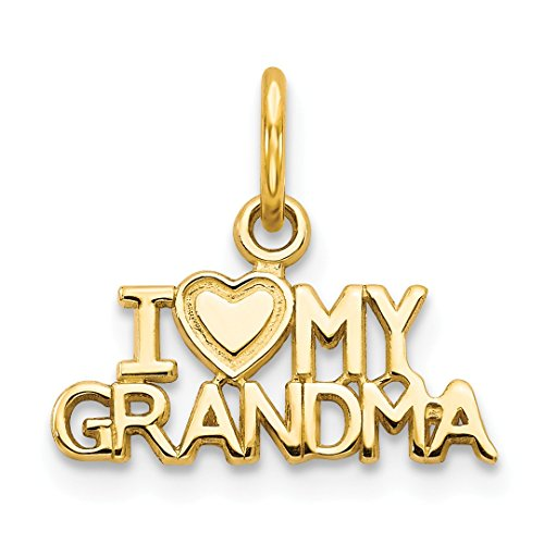 14k Yellow Gold I Love My Grandma Pendant Charm Necklace Special Person Grma Fine Jewelry For Women Gift Set