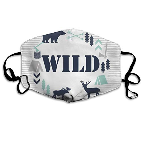 Wild Blanket Nursery Baby Boy Kids Baby Blanket Minky Navy Mint Blue Anti Dust Mask Anti Pollution Washable Reusable Mouth -