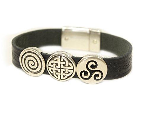 Biddy Murphy Celtic Leather Bracelet Irish Charms Black 7