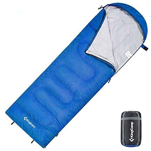 "KingCamp KS3121BL-R Envelope Sleeping Bag 3 Season Spliced Adult Portable Lightweight Comfort with Compression Sack for Adults Kids Camping Backpack Temp Rating 44F, 87"" x 29.5"", Blue"