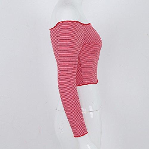 Tops Rouge Femme Blouse Blouses Chemise Femme U Tee Femme Rayures Grande Taille Shirt Shirt Nu Chemisiers et Blouse Weant Imprim Longue Casual Manche paule Col qPxvnSY