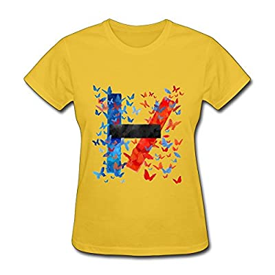 SHUNAN Women's Twenty One Pilots T-shirt Size L Yellow