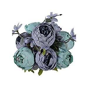 Grapefruit09 Artificial Flowers Wedding Vintage European Peony Wreath Silk Fake Flowers Heads Home Festival Decoration 13 Branches Home,New Blue 4