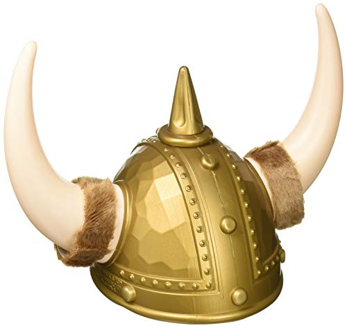 Forum Deluxe Viking Helmet with Horns, Brass, One Size ()