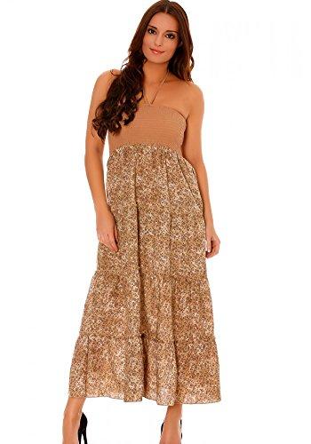 dmarkevous - Parfaite robe d'été Taupe à volant, avec des motifs fleurs - S-M, taupe