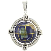 WithLoveSilver Sterling Silver Enamel 3D Globe Compass Pendant (Movable)