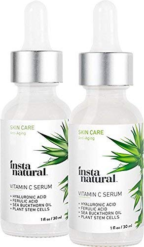 41sGr5j S5L - Vitamin C Serum Duo - 100 Days of Age Defying Benefits, With Hyaluronic Acid & Vitamin E, Brighten & Defend, Anti-Aging, Wrinkle Reducer & Sun Damage Corrector - InstaNatural - 2 Pack