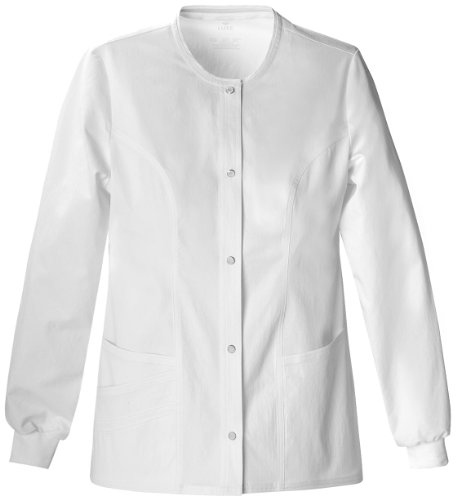 Cherokee Women's Scrubs Luxe Snap Front Warm Up Jacket, White, Small