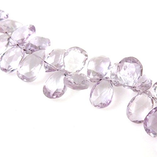 Semi Precious Gemstone Beads- Pear Shaped - Genuine Pink Amethyst Faceted Gemstone Briolettes- 10mm ( 5 pcs) (Grade (Pear Shaped Beads)