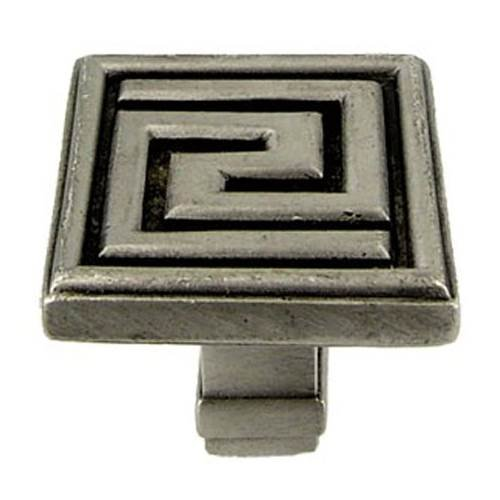 (Olympia Greek Key knob (Set of 10) (Pewter with Terra Cotta))