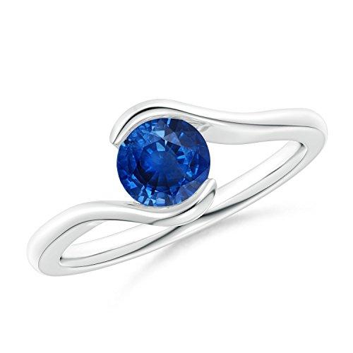 Semi Bezel-Set Solitaire Round Blue Sapphire Bypass Ring in Platinum (5.5mm Blue (Platinum Semi Set)