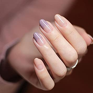 YUNAI Round Head Fake Nails For Women Girl French Manicure All Match Light PurpleNude False