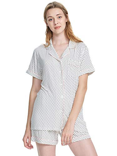 SIORO Pajamas for Women Short Sleeve Sleepwear with PJ Sets Ladies Pajamas Soft Cotton Loungewear Top and Shorts, White with Black Dots, L