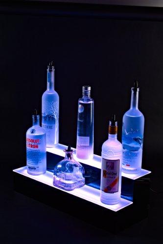 - Armana Productions Two Tier LED Lighted Liquor Bottle Display Shelf: 4' Long
