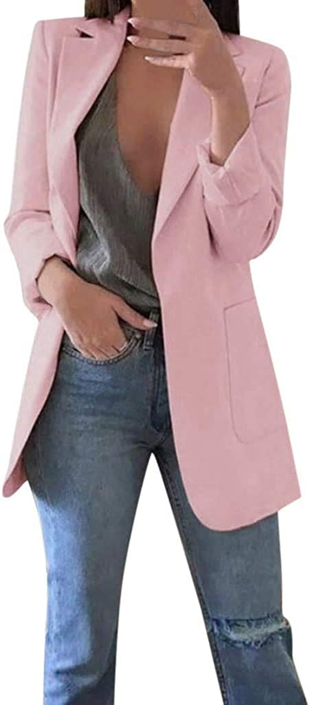 Ribtorsp Womens Lapel Blazer Long Sleeve Solid Formal Suit Jacket Open Front Lightweight Office Cardigan Coat with Pockets