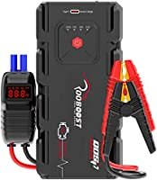 Rooboost™ 2000A Peak Car Jump Starter (Up to 10L Gas or 8L Diesel), USB Quick Charge 3.0, Digital Smart Jumper Cable,...