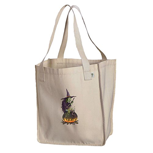 Witch Cauldron Handbag (Market Tote Organic Canvas Witch Cooking On Her Cauldron #1 By Style In Print)