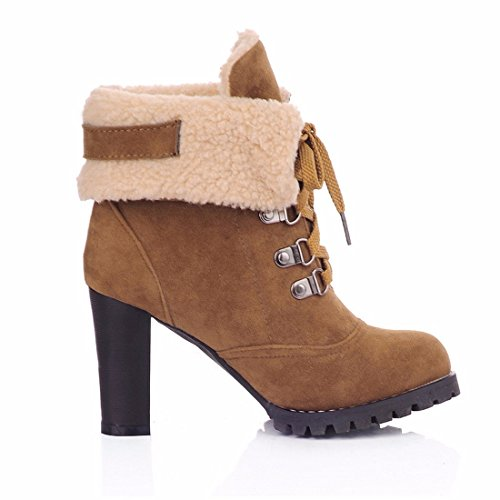 36 RFF Retro Heels High Cotton Boots Autumn and Boots Womens Shoes Bandage Martin Boots Yellow Winter ZxPSqrUZw