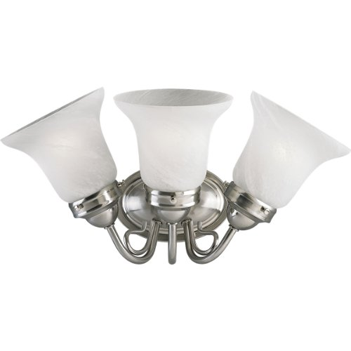 (Progress Lighting P3188-09EBWB 3-Light Bath Bracket, Brushed Nickel)