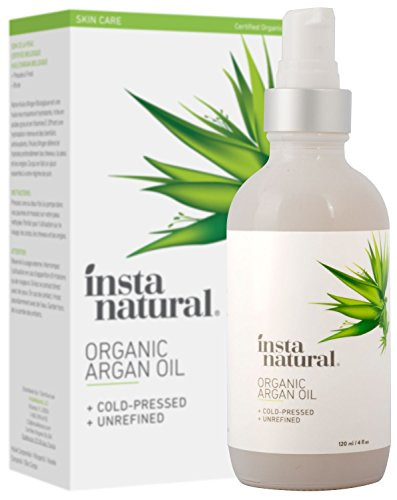 Organic Argan Oil - for Hair, Face, Skin and Body - 100% Pure and Certified Organic Cold Pressed Argan Oil of Morocco - For Nails, Dry Scalp, Split Ends, Stretch Marks & More - InstaNatural - 4 oz by InstaNatural