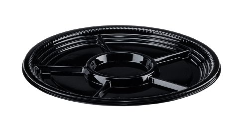 Pactiv Platter (CaterLine Casuals Plastic 5-Section Platter Round Tray, 16-Inch Diameter, Black (25-Count))
