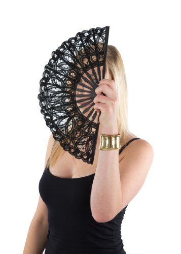 likemary Hand Fan Lace & Bamboo Stem Ladies Renaisance -