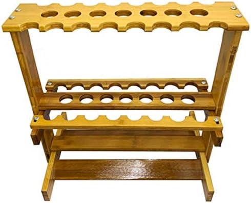 HSBAIS キューラックフロアスタンド、木 プロンプトのみ 収容可能 23 穴 プールの手がかり プールキューラック インストールが簡単,yeloow
