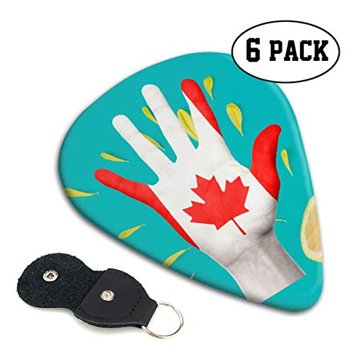 (QVRQ Canada Flag Canadian Maple Leaf Celluloid Medium Picks Sampler Guitar Pick 6)