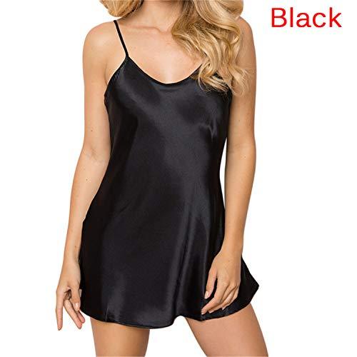 Solid Sleepshirt - Soft Women Short Satin Sleepwear Ladies Sexy Lingerie Solid Strap Babydoll Nightdress Mini Sleepshirts Homewear(Black,M)