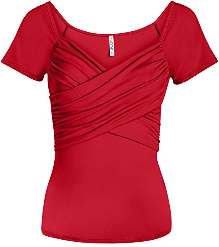 Simlu Red Wrap Tops for Women Ruched Short Sleeve Crossover Shirt Plus Size and Regular (Red T-shirt Women Quality)