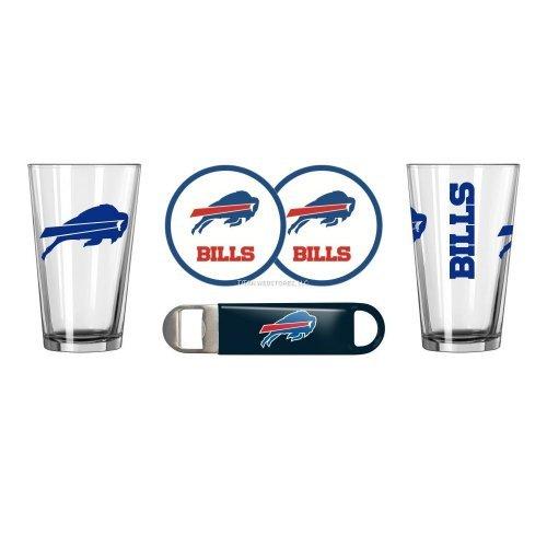 - NFL Football Gameday Beer Pints Gift Set - Pint Glasses (2), Vinyl Coasters (2) & Stainless Steel Opener (1) (Bills)