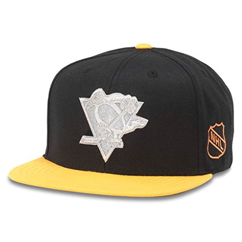 American Needle Silver Fox NHL Team Flat Brim Hat, Pittsburgh Penguins, Black/Gold (43662A-PPN)
