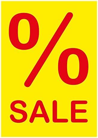 """10 Werbeplakate""""% SALE"""" DIN A4 gelb/rot, Kundenstopper - Aufsteller - Plakate - Plakatkarton [P-A4-2]"""