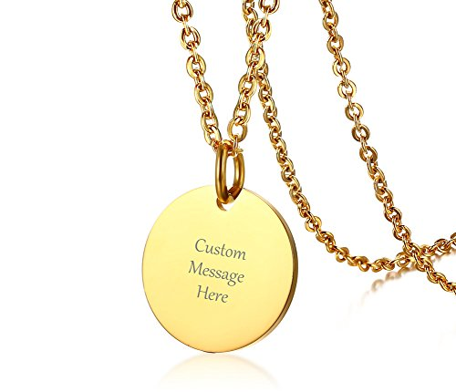 VNOX Custom Engraved Stainless Steel Circle Round Tag Disc Pendant Necklace,Inspirational Bridesmaid Friendship Gift for Her (Gold, 1 Piece)